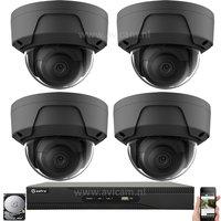 PoE 2MP netwerk UTP Safire camerabewakingssysteem met 4 zwarte dome IP camera's.