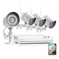IP SPoE HD buiten camerasysteem Funlux FS-1004-W-1TB met netwerkkabel aansluiting.