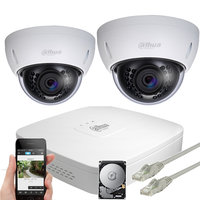 Dahua 5MP IP PoE dome camerabewakingssysteem FULL HD 2 camera's.