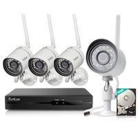 Draadloos 720P HD camerasysteem met 4 netwerk IP camera's, gratis app en 500GB harde schijf.