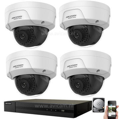 IP Hikvision PoE 2MP FULL HD camerabewaking set met 4 buiten dome camera's