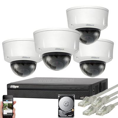 Dahua 3MP IP PoE camerasysteem met 4 IP camera's varifocale lens 2,7-12 mm.
