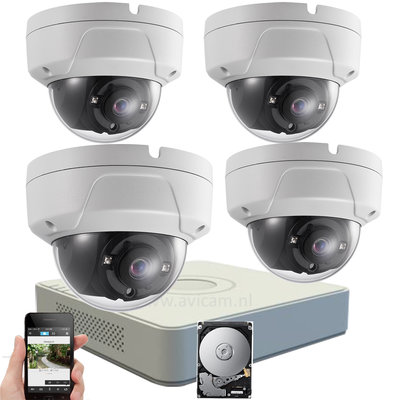 Draadloos WIFI IP camerabewaking met 4 FULL HD vandaalbestendige camera's