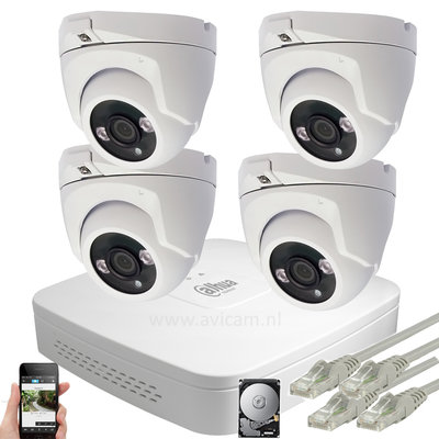 Dahua 5 MP IP PoE camerasysteem 4 buiten Turret IP camera's met interne microfoon.