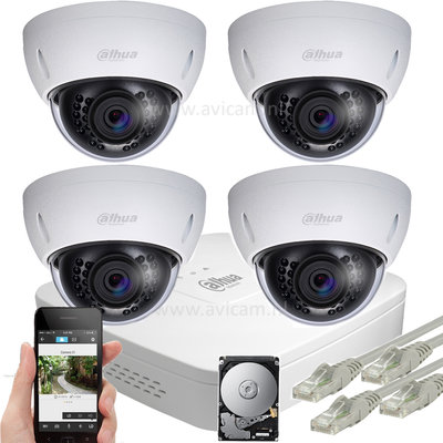 Dahua 5MP IP PoE dome camerabewakingssysteem FULL HD 4 camera's.