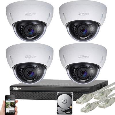 Dahua 2MP IP PoE FULL HD camerabewakingssysteem 4 dome camera's.