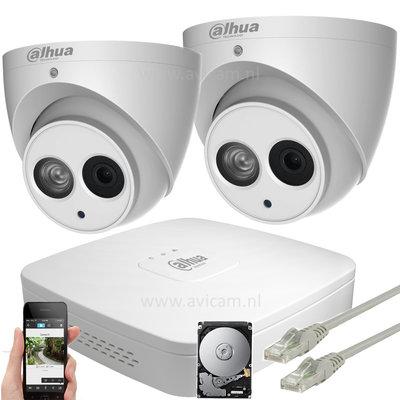 Dahua 8MP IP ePoE camerasysteem 2 Eyeball netwerk IP67 camera's met interne microfoon.