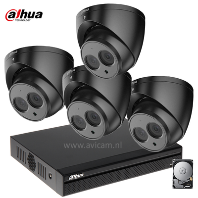 Dahua 2MP camerabewakingssysteem FULL HD 4 camera's kleur zwart incl. microfoon