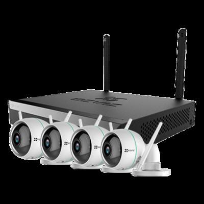 CS-BW3424B0-E40 EZVIZ WIFI camerasysteem FULL HD 4 IP Camera met nachtzicht, microfoon, NVR met eigen router.