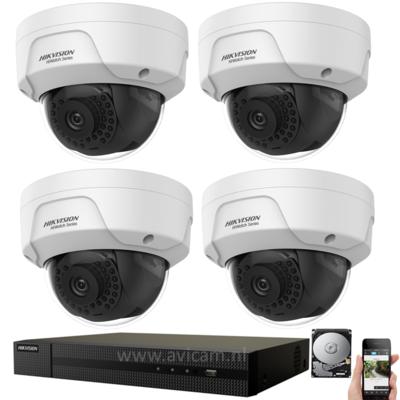 IP Hikvision PoE 4MP FULL HD camerabewaking set met 4 buiten dome camera's