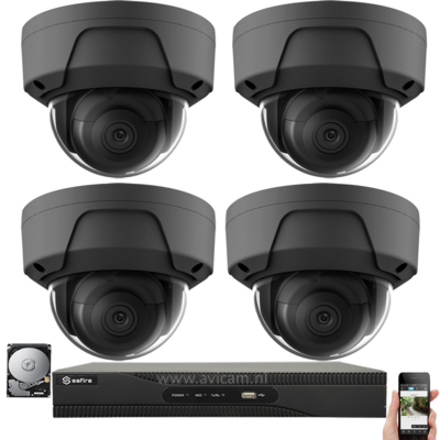 IP PoE 4MP netwerk UTP Safire camerabewakingssysteem met 4 zwarte dome camera's.