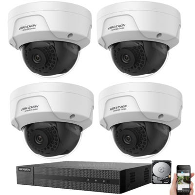 IP Hikvision PoE 4MP FULL HD camerabewaking set met 4 buiten dome camera's