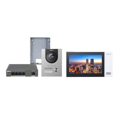 Dahua video intercom complete kit met paneel, monitor en switch - IP PoE netwerkkabel aansluiting.