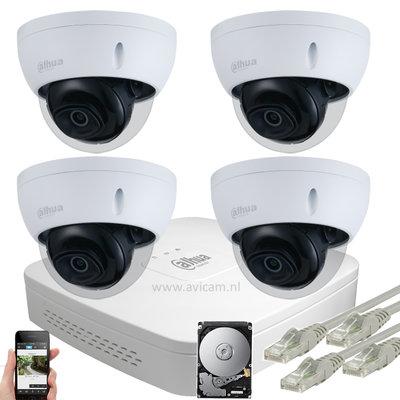 Dahua Starlight 5MP IP PoE dome camerabewakingssysteem FULL HD 4 camera's.