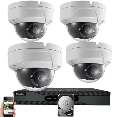 Draadloos WIFI IP camerabewaking met 4 FULL HD vandaalbestendige camera's.