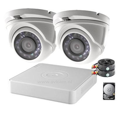 Actie OP=OP! 2MP FULL HD camerabewakingssysteem met 2 vandaalbestendige buiten dome camera's.