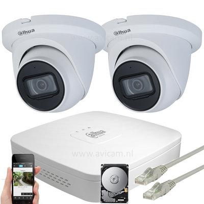 Dahua 8MP camerasysteem met 2 Starlight Eyeball PoE IP camera's inclusief ingebouwde microfoon.