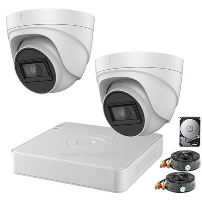 Camerabewaking set Safire Pro Starlight FULL HD met 2 Turret camera's, dvr, 1TB harde schijf en kabels