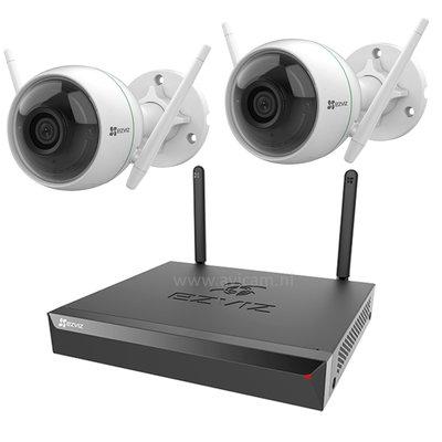 Ezviz wifi camerasysteem full hd incl. 1TB, 2 IP camera met nachtzicht, microfoon, nvr met eigen router.