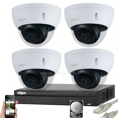 Dahua Starlight 2MP IP PoE FULL HD camerabewakingssysteem 4 dome camera's.