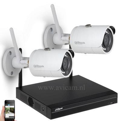 Draadloos Dahua WIFI IP camerasysteem met ingebouwde router en 2 Starlight bullet camera's.