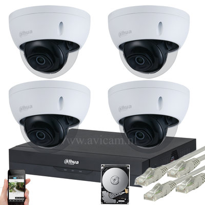 Dahua Starlight 5MP IP PoE dome camerabewakingssysteem FULL HD 4 camera's.