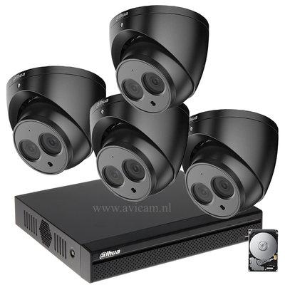 Dahua 2MP camerabewakingssysteem FULL HD 4 camera's kleur zwart incl. microfoon