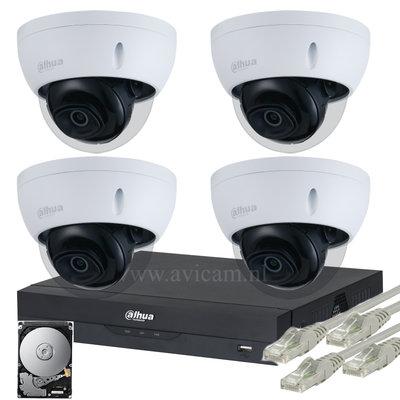 Dahua Starlight 2MP IP PoE FULL HD camerabewakingssysteem 4 dome camera's.