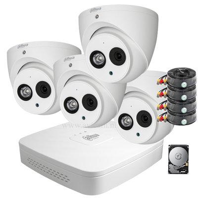 Dahua 2MP camerasysteem FULL HD 4 Eyeball camera's inclusief microfoon.