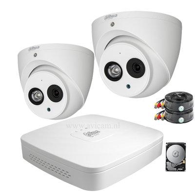 Dahua 2MP camerasysteem FULL HD 2 Eyeball camera's inclusief microfoon.