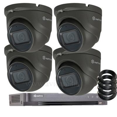 Beveiligingscamera set 5MP Safire buiten mini dome camera's, dvr, harde schijf en coax kabels.