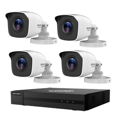 Hikvision Turbo HD camerabewaking set met 4 EXIR bullet outdoor camera's.