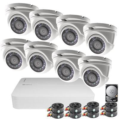 Safire 2MP 1080P FULL HD camerabewakingssysteem incl. DVR, 8 camera's en kabels.