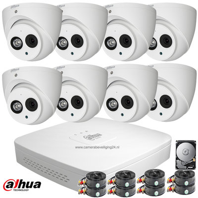 Dahua 2MP FULL HD camerabewakingssysteem 8 HD-CVI camera's incl. microfoon.