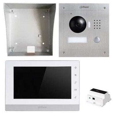 Dahua IP video intercom complete kit met paneel, monitor en controller - 2 draads aansluiting.