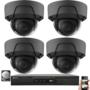 Actie OP=OP! IP PoE 2MP netwerk UTP Safire camerabewakingssysteem met 4 zwarte dome camera's.