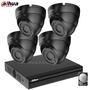 Dahua Camerabeveiliging set met 4 vandaalbestendige zwarte dome camera's.